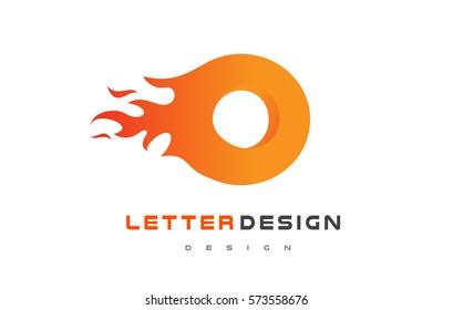 O Letter Flame Logo Design. Fire Logo Lettering Concept Vector.