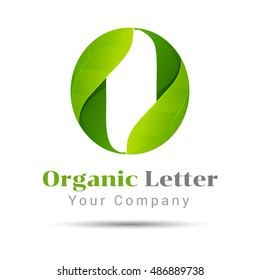 O letter green eco logo, volume icon. Vector design illustration. Template for your business company. Creative abstract concept.