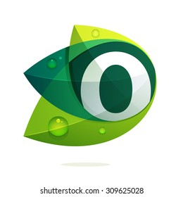 O letter with green leaves and dew drops. Vector design template elements for your application or corporate identity.