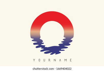 O Letter Logo Design with Water Effect and Sunset Gradient Vector Illustration.