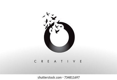 O Logo Letter with Flying Flock of Birds Disintegrating from the Letter. Bird Fly Letter Icon.