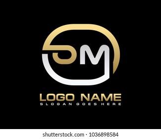 O M Initial circle logo template vector