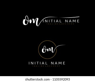 O M Initial handwriting logo vector. Hand lettering for designs.