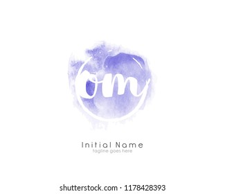 O M Initial logo template with watercolor background