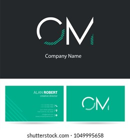 O & M joint logo stroke letter design with business card template