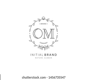 O M OM Beauty vector initial logo, handwriting logo of initial signature, wedding, fashion, jewerly, boutique, floral and botanical with creative template for any company or business.
