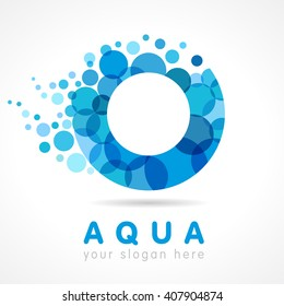 O name logotype. Isolated abstract washing emblem. Stained glass character blue colored trendy graphic template. Drinking pure clear drops bubbly bunch. Corporate healthcare branding identity.