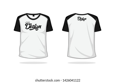 O neck raglan t shirt mock up template vector illustration