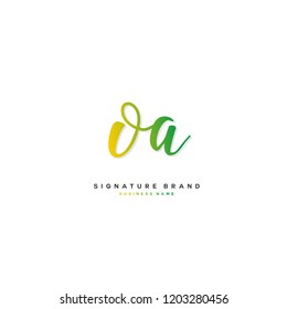 O A OA Initial letter handwriting and  signature logo concept design