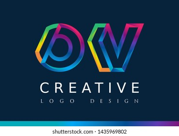 O V Logo. OV Letter Design Vector with Magenta blue and green yellow color