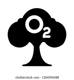 O2 icon - vector oxygen sign symbol. nature illustration isolated, silhouette o2