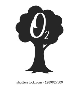 O2 icon - vector oxygen sign on tree symbol. nature illustration isolated on white background