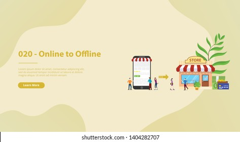 o2o online to offline e-commerce new concept technology with store and website page for website template or banner landing homepage - vector
