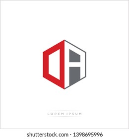 OA / DA Logo Initial Monogram Negative Space Design Template With Orange and Grey Color - Vector EPS 10