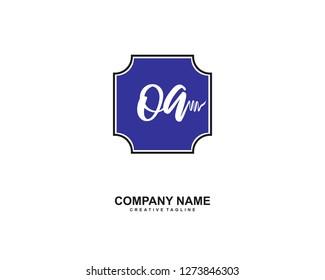 OA Initial Handwriting Logo Template Vector