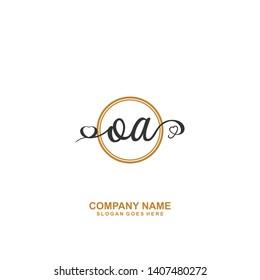 OA Initial handwriting logo vector
