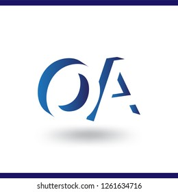 OA initial letter with negative space logo icon vector template