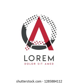OA logo with gray and red color that can be used for creative industries and paper printing. AO logo is filled with bubbles and dots, can be applied in the background and wallpaper