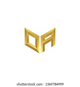OA Logo letter initial 3d designs templete with gold colors