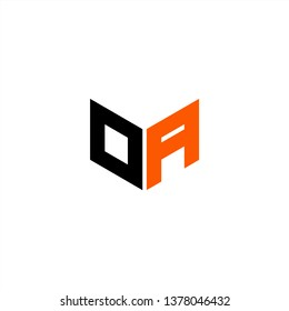OA Logo Letter Initial With Black and Orange Colors