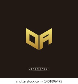 OA Logo Letter Initial Logo Designs Templete with Gold and Black Background