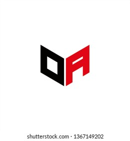 OA Logo Letter Initial With Red and Black Colors