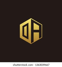 OA Logo Monogram with Negative space gold colors