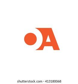 OA Logo. Vector Graphic Branding Letter Element. White Background
