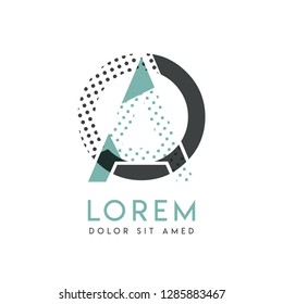 OA modern logo design with gray and blue color that can be used for creative industries and paper printing. AO logo is filled with bubbles and dots, can be applied in the background and wallpaper