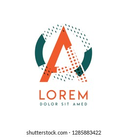 OA modern logo design with orange and green color that can be used for creative business and advertising. AO logo is filled with bubbles and dots, can be used for all areas of the company
