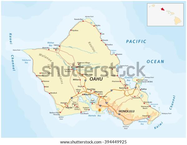 road map of oahu Oahu Road Map Stock Vector Royalty Free 394449925 road map of oahu