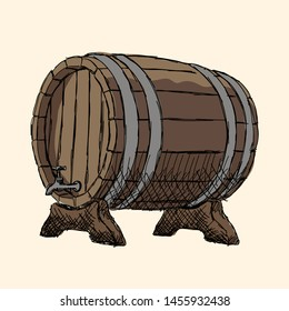 Oak barrel with metal rims for beer on stands.