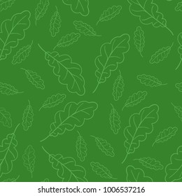 Oak green foliage vector seamless decorative natural eco  pattern. Use for decoration, cover, print wrapping paper and web.