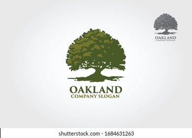 Oak Land Vector Logo. Vector silhouette of a tree. The tree is symbol of strength, longevity, fertility, hope and continuity. This logo can be used by landscape business, hotels, financial, etc.