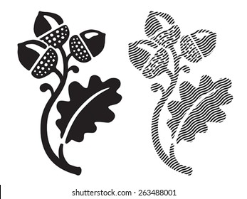 Oak leaf with acorns. EPS 8, CMYK