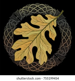 Oak leaf in autumn coloring and Celtic magic ornament, isolated on black, vector illustration