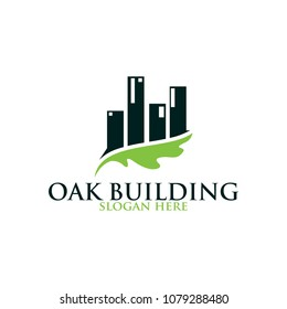 Oak leaf building vector logo isolated. Logo templates.