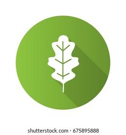 Oak leaf flat design long shadow glyph icon. Vector silhouette illustration