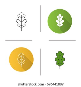 Oak leaf icon. Flat design, linear and color styles. Isolated vector illustrations