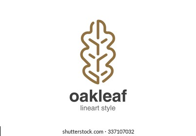 Oak Leaf Logo design vector template linear style.