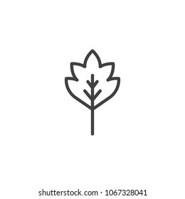 Oak leaf outline icon. linear style sign for mobile concept and web design. Tree leaf simple line vector icon. Symbol, logo illustration. Pixel perfect vector graphics