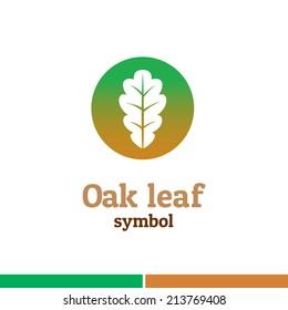 Oak leaf symbol logo. Nature theme template.