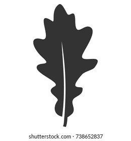 Oak Leaf vector pictograph. Style is flat graphic grey symbol.