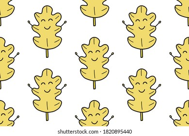 Oak leave seamless pattern isolated on white background. For your fabric, textile design, wrapping paper or wallpaper. . Cute cartoon red autumnal garden leaf, fall leaf and fallen dry leaves.