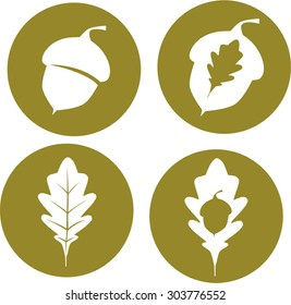 Oak leaves and acorn icons