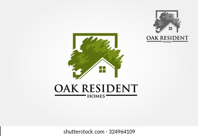 Oak Resident Homes Vector Logo. Design template of oak tree and house that made from a simple scratch. it's good for symbolize a property or housing business.