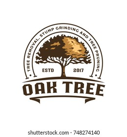 Oak Silhouette of a tree, Vector logo design