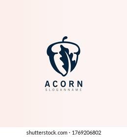 Oak tree Acorn. Inspiration simple logo illustration, vector icon template.