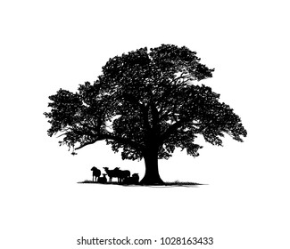 Oak Tree with Goat Cattle on the Bottom Illustration Hand Drawing Symbol Logo Vector