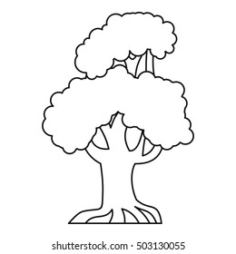 Oak tree icon. Outline illustration of oak vector icon for web